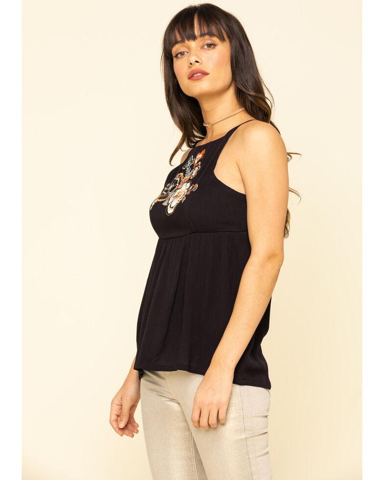 Shyanne Women's Black Embroidered Front Halter Top, Black, hi-res