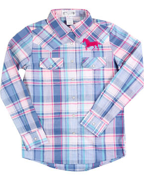 Shyanne® Girls' Horse Embroidered Plaid Long Sleeve Shirt, Blue, hi-res