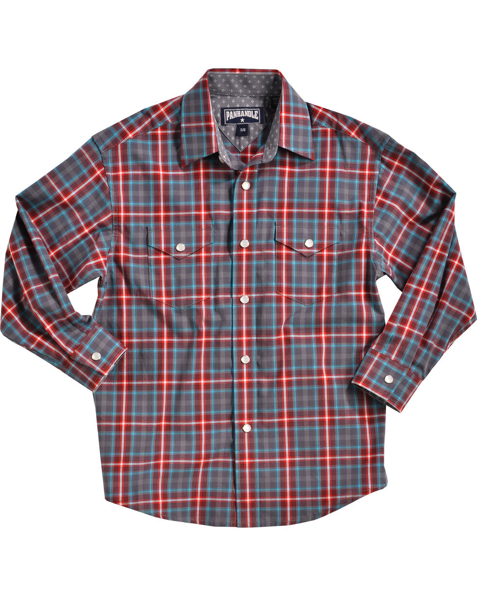 Panhandle Boys' Navy Yarndye Plaid Western Shirt , Navy, hi-res