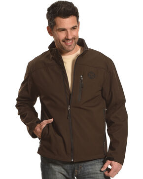 HOOey Men's Brown Bonded Softshell Jacket , Brown, hi-res