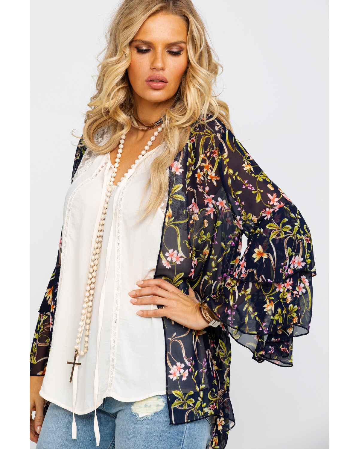 Panhandle Womens Red Label by Multi-Color Floral Print Kimono