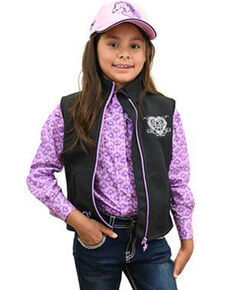 Cowgirl Hardware Girls' Black Wild & Free Vest, Black, hi-res
