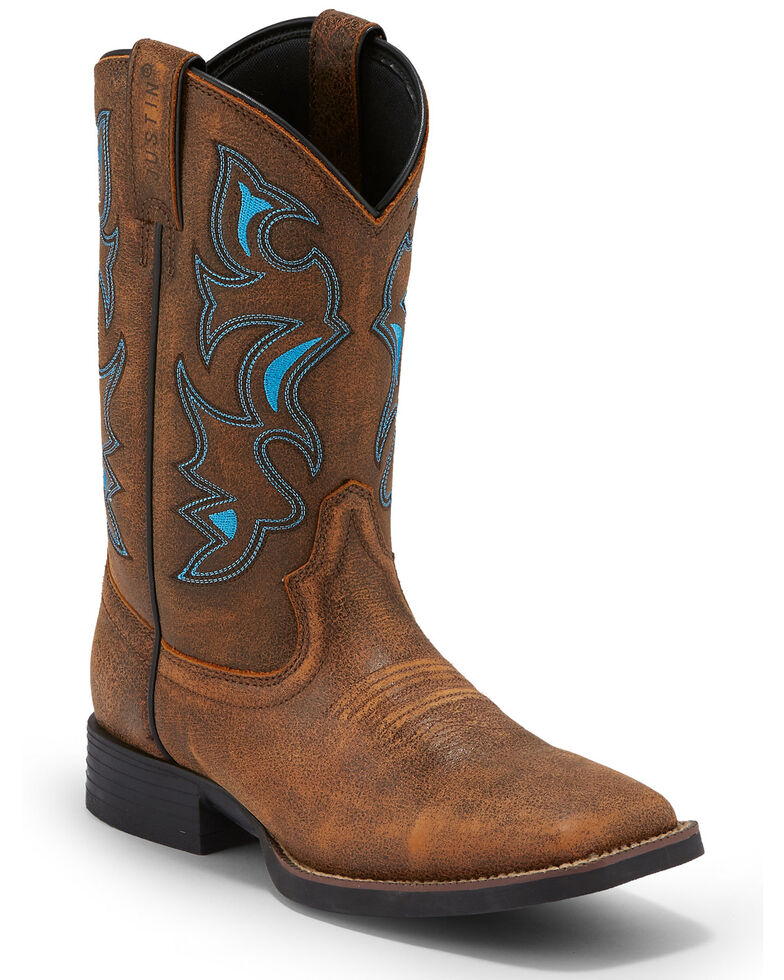 Justin Men's Chet Western Boots - Square Toe, Tan, hi-res