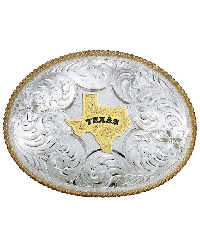 Montana Silversmiths Men's Twisted Rope Texas Belt Buckle, Multi, hi-res
