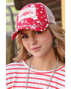 Cruel Girl Women's Red Car Patch Star Print Trucker Cap , Red, hi-res