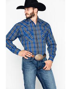 Ely Cattleman Men's Plaid Long Sleeve Western Shirt , Navy, hi-res