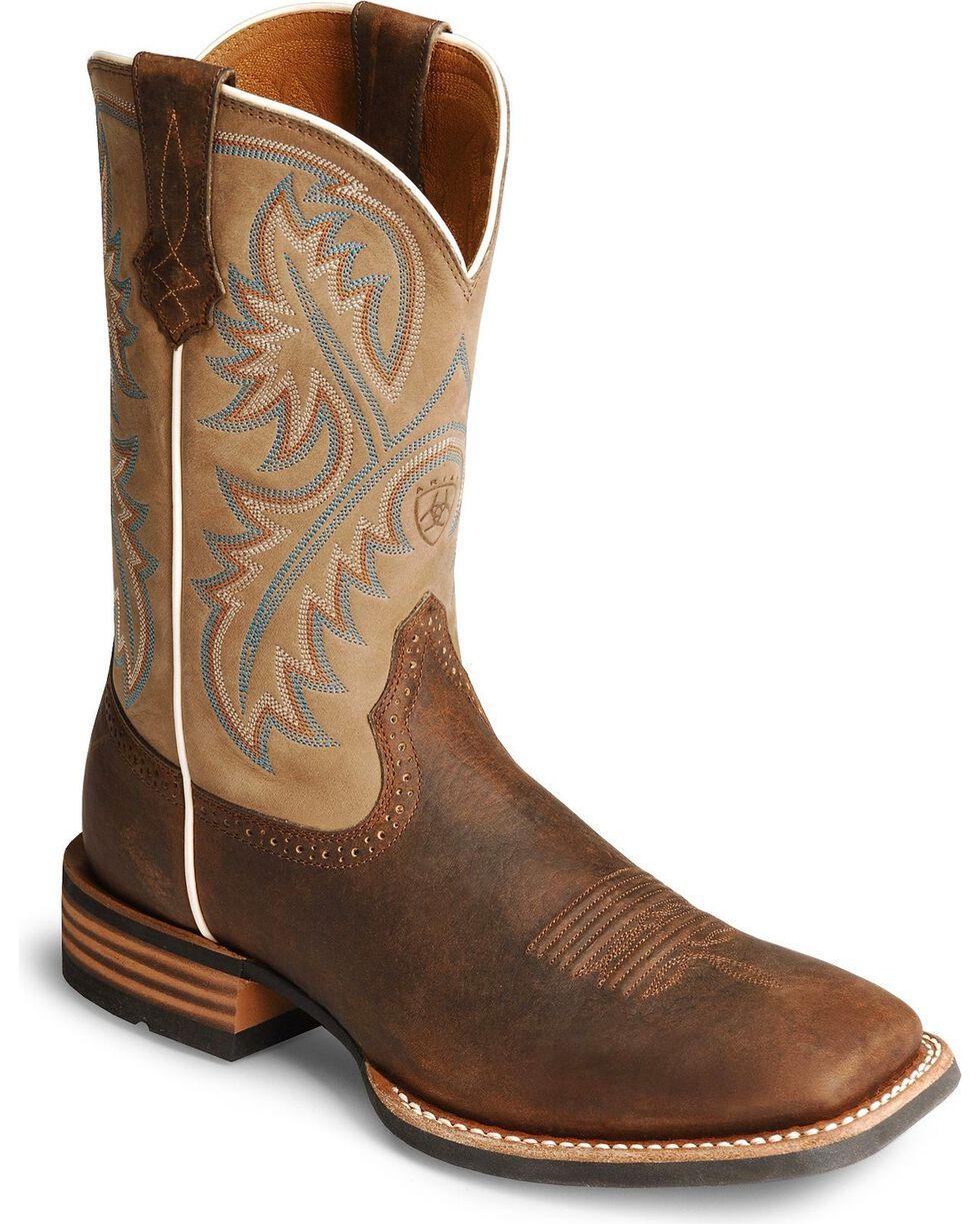 Ariat Men's Quickdraw Western Boots, Bark, hi-res