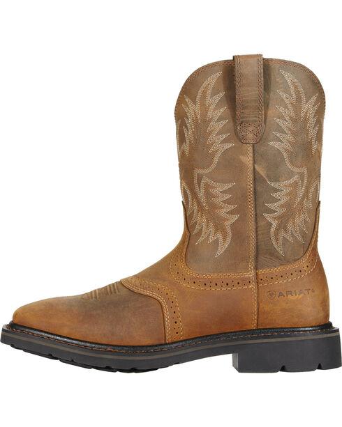 Ariat Men's Sierra Steel Square Toe Western Work Boots, Aged Bark, hi-res