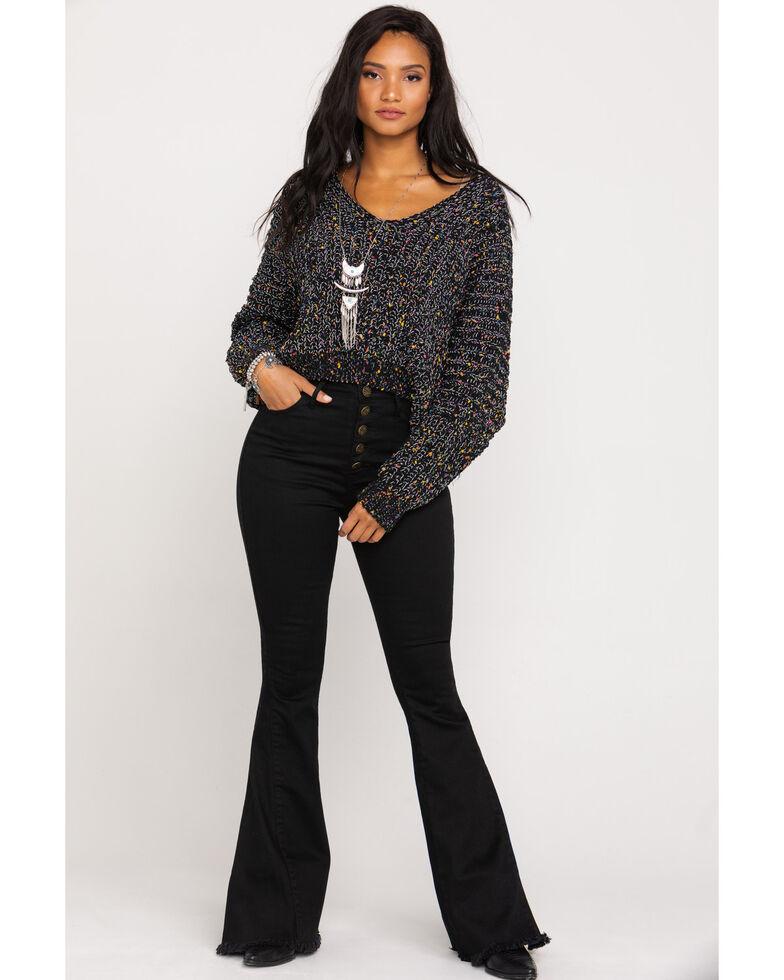Pol Women's Ivory Speckle V-Neck Sweater , Black, hi-res
