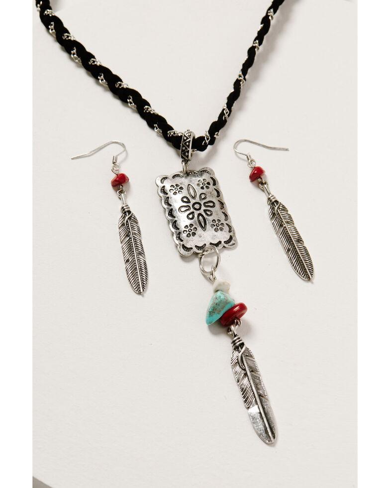 Shyanne Women's Wild Soul Feather Pendant Set, Silver, hi-res