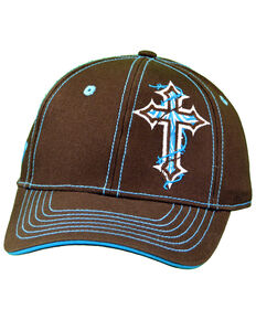 Cowgirl Hardware Women's Zebra Cross Snap Cap, Brown, hi-res
