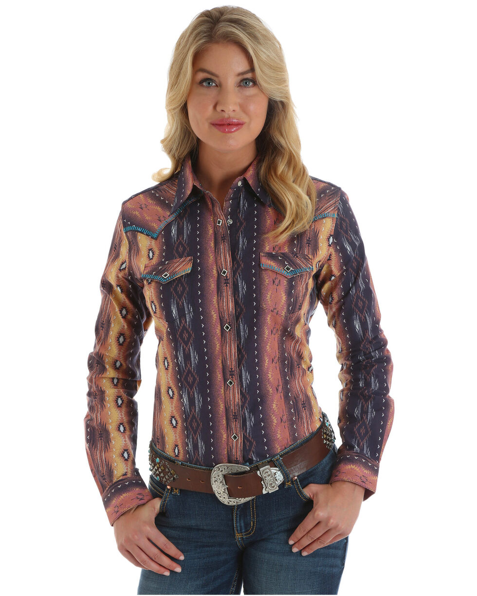 Wrangler Women's Aztec Long Sleeve Western Shirt, , hi-res
