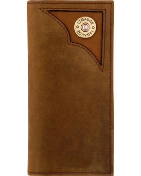 3D Men's Leather and Camo Shotgun Shell Checkbook Wallet, Brown, hi-res