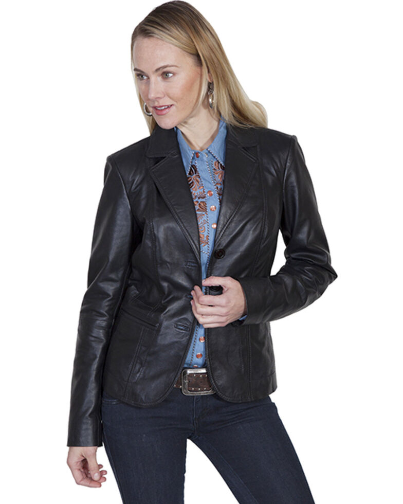 Leatherwear by Scully Women's Black Lamb Blazer, Black, hi-res
