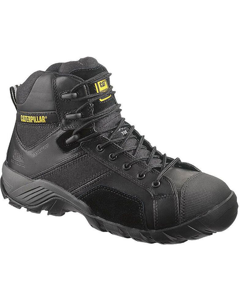 "Caterpillar 6"" Argon Waterproof Lace-Up Work Shoes - Composite Toe, Black, hi-res"