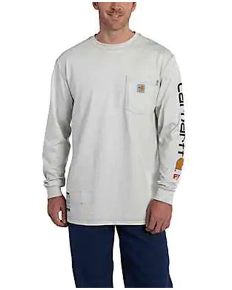 Carhartt Men's FR Ivory Force Midweight Signature Long Sleeve Work Pocket T-Shirt - Big , Ivory, hi-res
