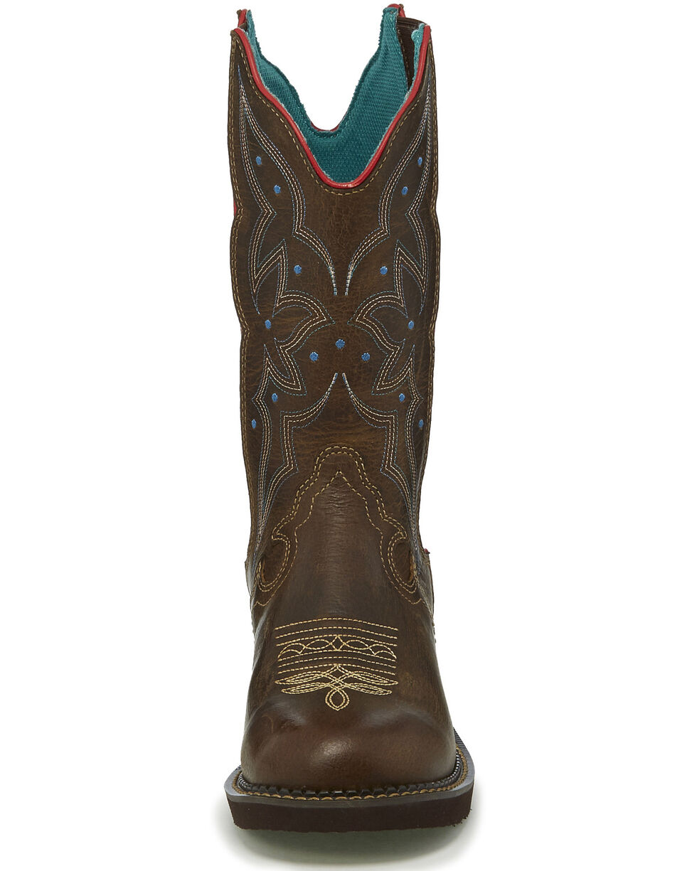 Justin Women's Lily Western Boots - Round Toe, Chocolate, hi-res