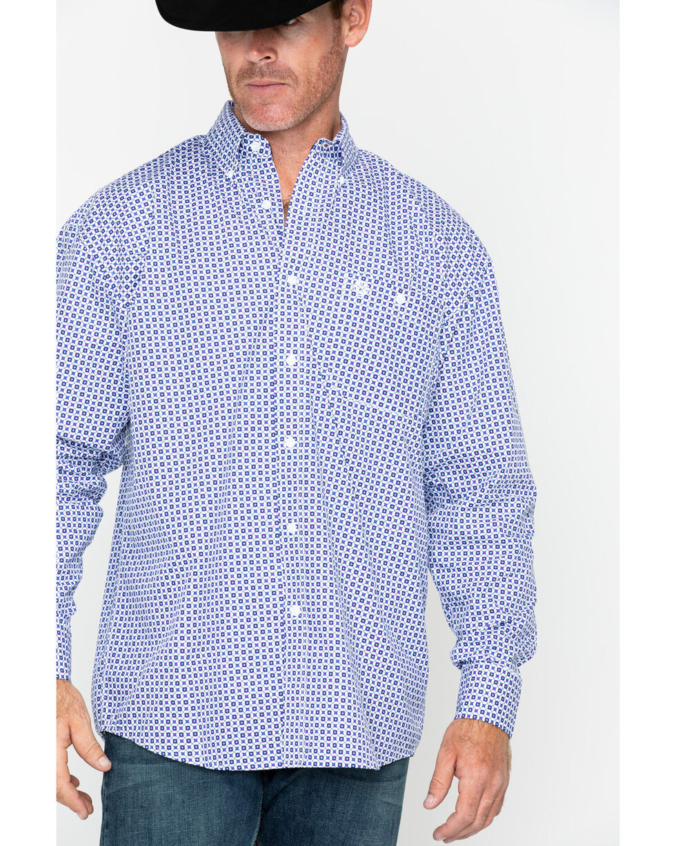 George Strait by Wrangler Men's Geo Print Long Sleeve Shirt , White, hi-res
