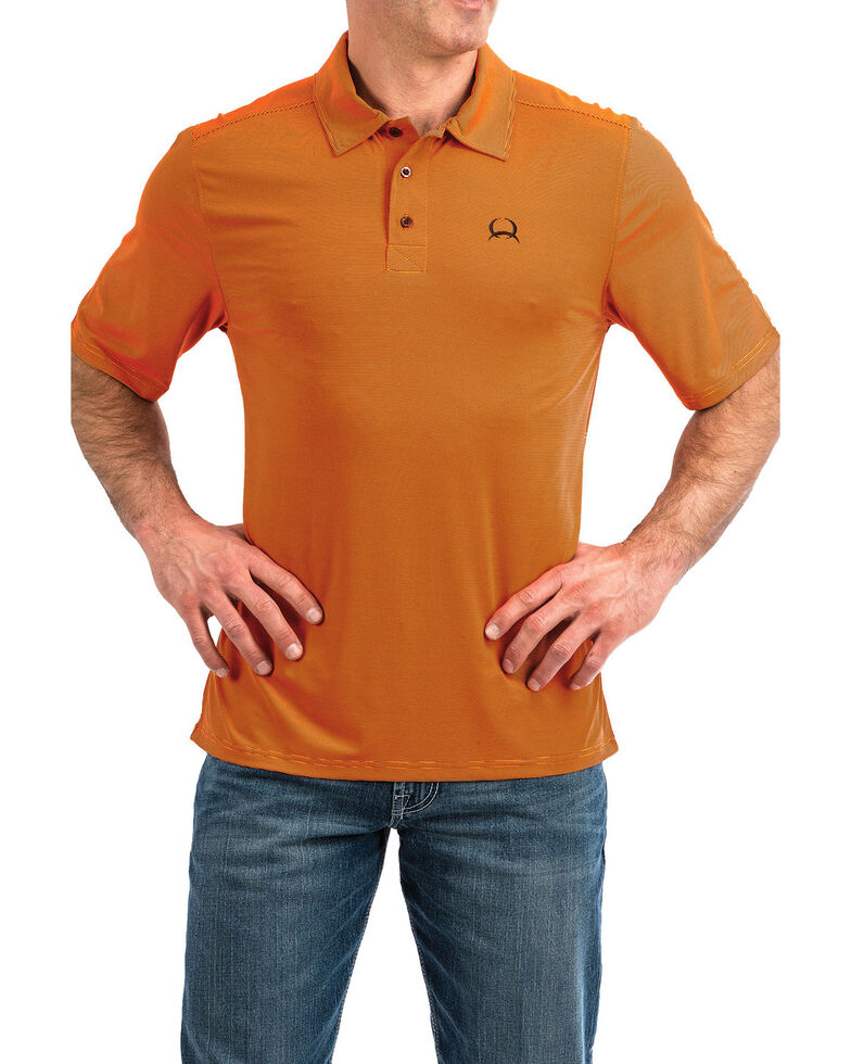 Cinch Men's Orange Arena Flex Short Sleeve Polo Shirt , Orange, hi-res