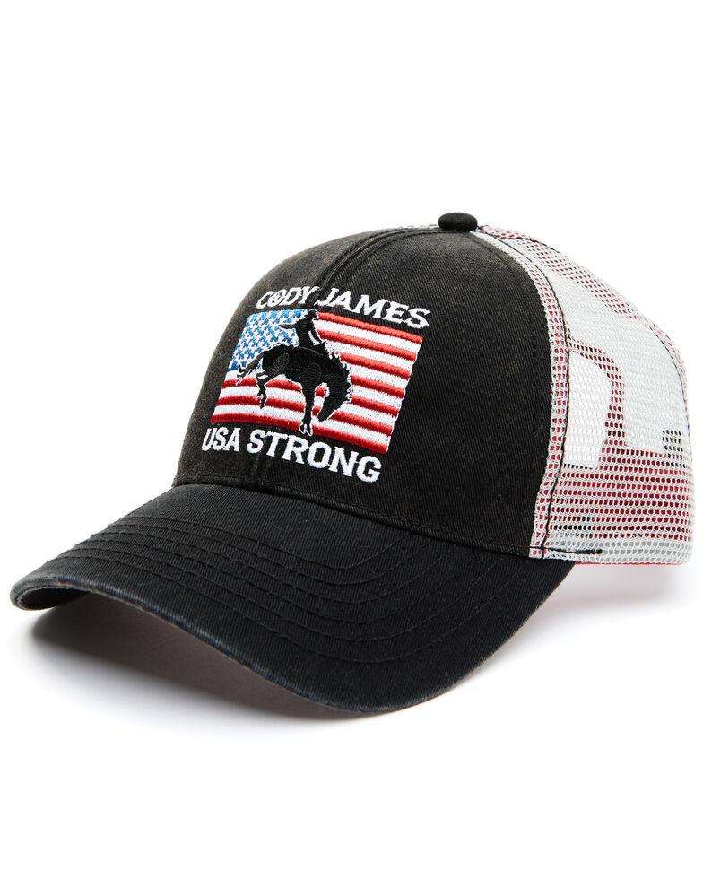Cody James Men's USA Strong Flag Patch Mesh-Back Ball Cap , Black, hi-res