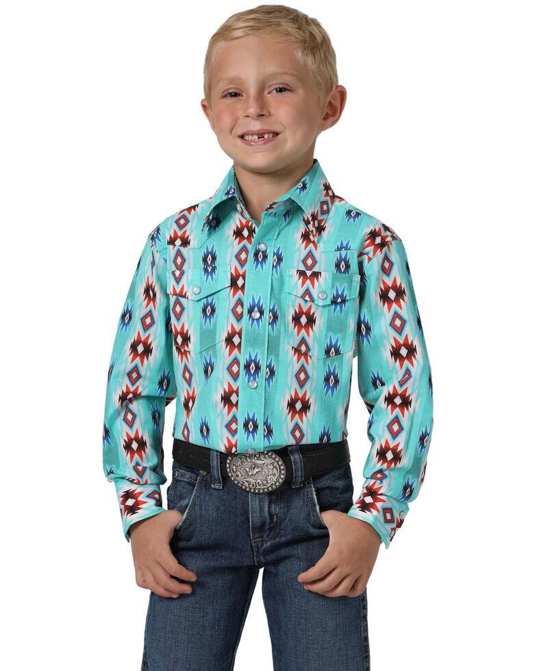 Wrangler Boys' Turquoise Checotah Aztec Print Long Sleeve Western Shirt , Turquoise, hi-res