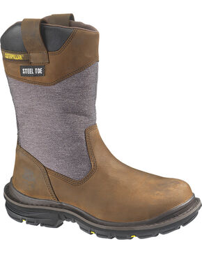 CAT Men's Waterproof Steel Toe Grist Wellington Work Boots, Dark Brown, hi-res