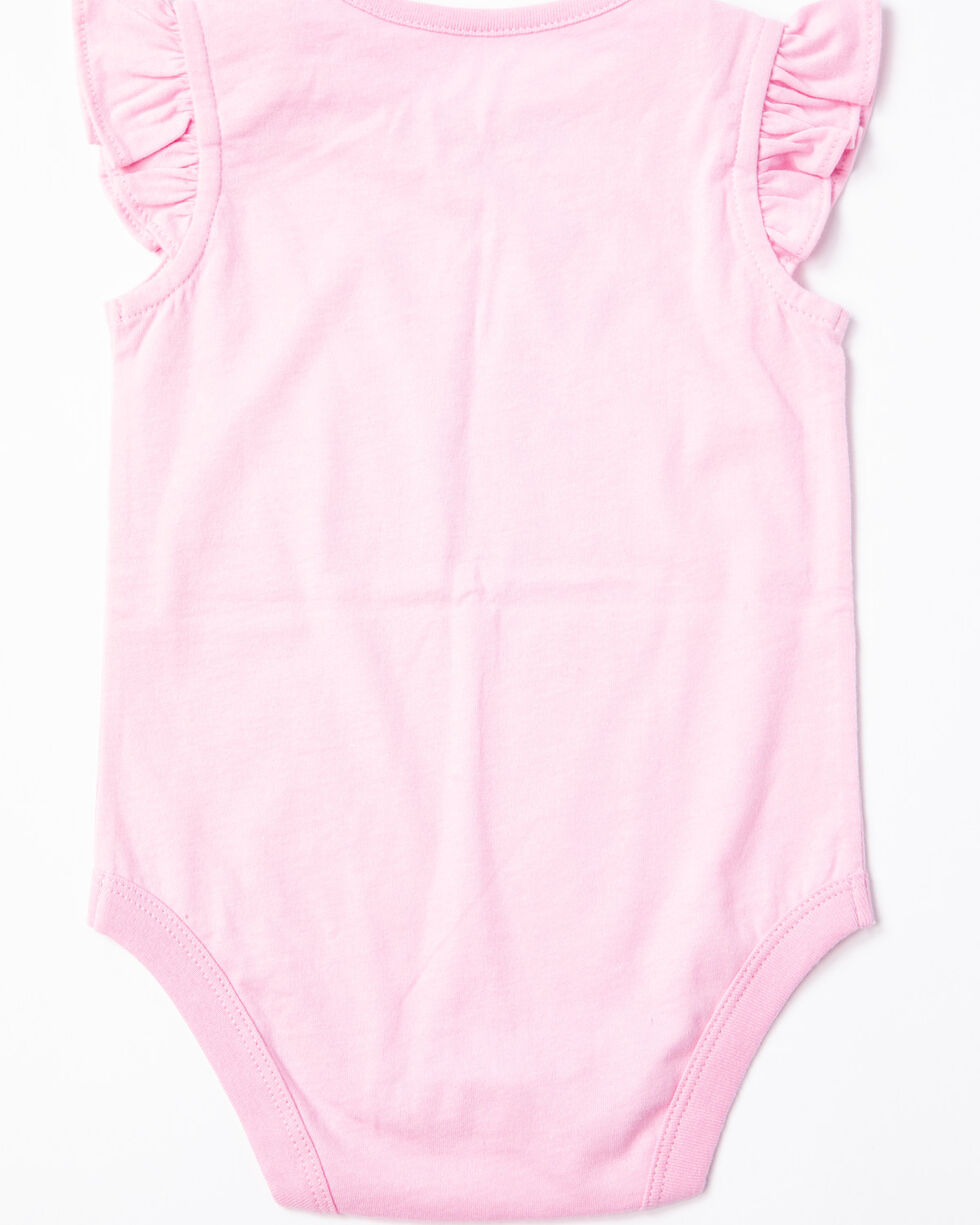 Shyanne Infant Girls' Crawl Walk Race Ruffle Sleeve Onesie, Pink, hi-res