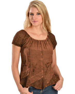 Scully Women's Short Sleeve Peasant Blouse, Copper, hi-res