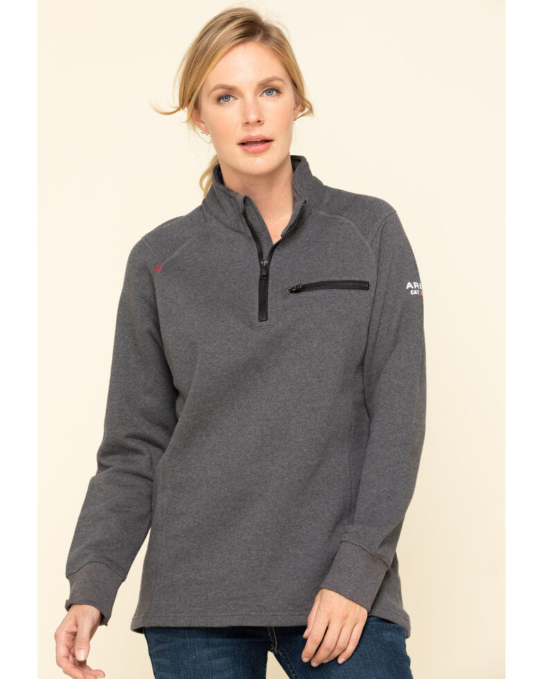 Ariat Women's Charcoal Heather FR Rev 1/4 Zip Pullover , Charcoal, hi-res