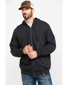 Wrangler Riggs Men's Heather Black Terry Solid Full Zip Work Hooded Jacket , Black, hi-res