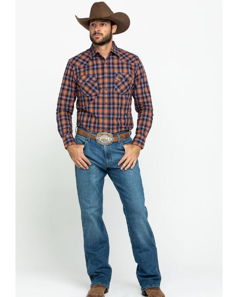 Wrangler Retro Men's Orange Small Plaid Long Sleeve Western Shirt , Orange, hi-res