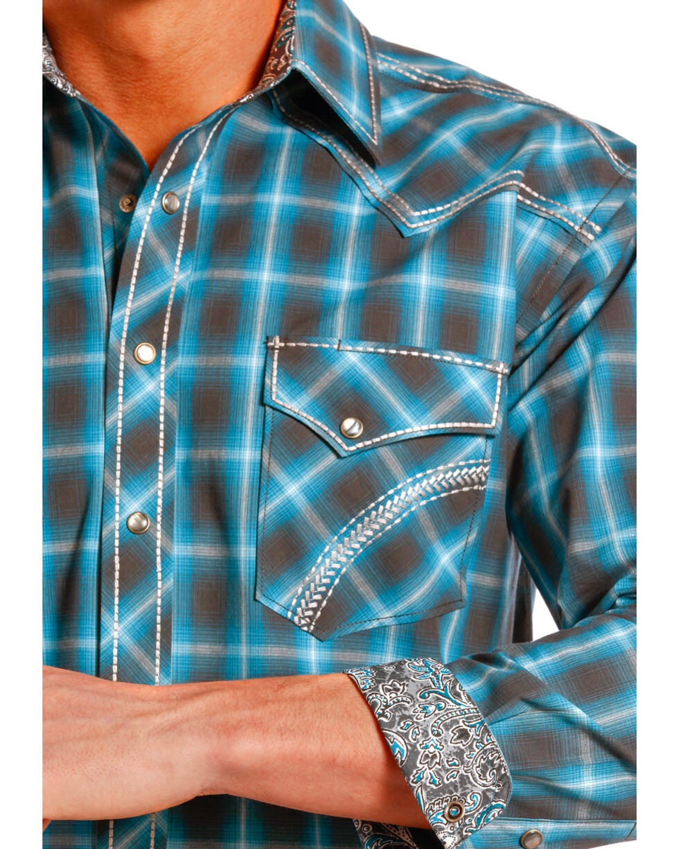 Rough Stock by Panhandle Slim Teal Plaid Barrow Western Shirt , Teal, hi-res