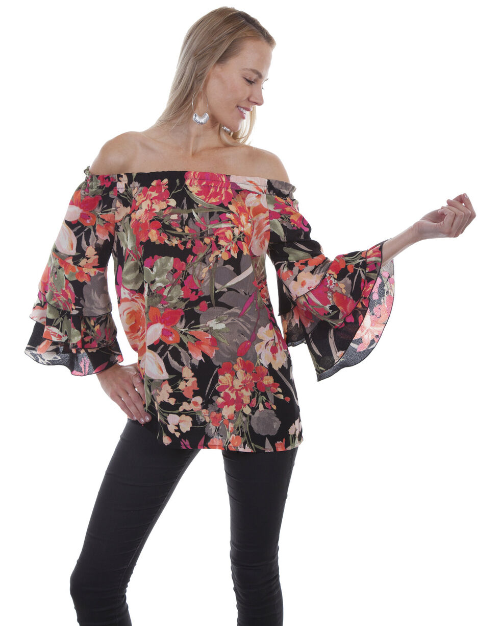 Honey Creek by Scully Women's Black Floral Peasant Blouse, , hi-res