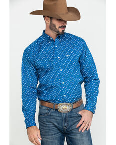 Ariat Men's Gates Conversation Stretch Print Long Sleeve Western Shirt , Blue, hi-res