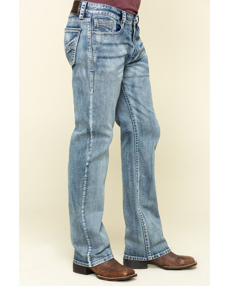 Rock & Roll Cowboy Men's Double Barrel Light Stretch Relaxed Bootcut Jeans , Blue, hi-res