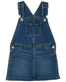 Wrangler Infant Girls' Denim Overall Dress, Blue, hi-res