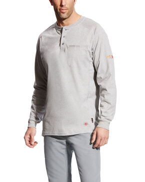 Ariat Men's Grey FR Air Henley Long Sleeve Work Shirt , Heather Grey, hi-res