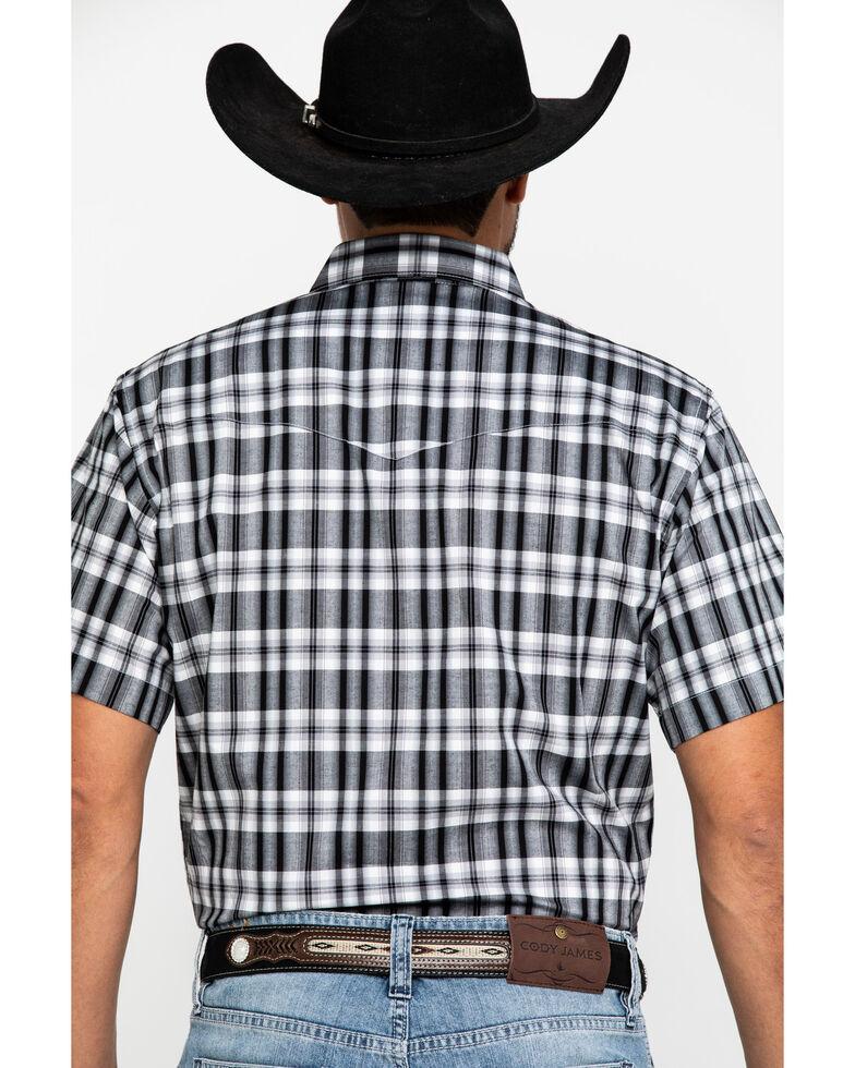 Wrangler Men's Wrinkle Resist Black Med Plaid Short Sleeve Western Shirt , , hi-res