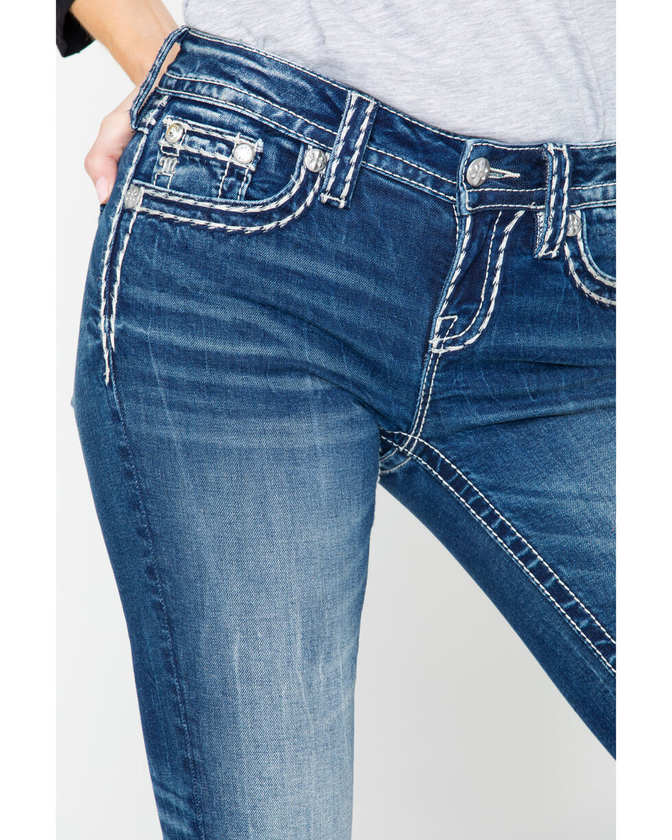 Miss Me Women's Sign Stitch Bootcut Jeans, Blue, hi-res