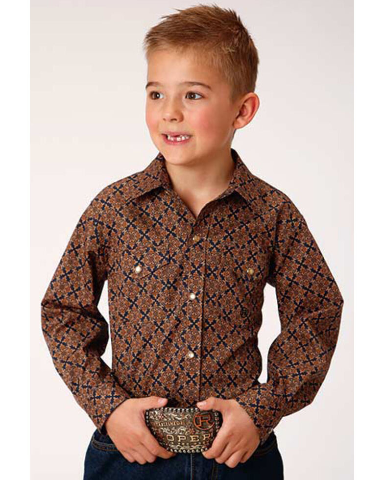 Roper Boys' Cedar Brook Amarillo Diamond Geo Print Long Sleeve Western Shirt , Brown, hi-res