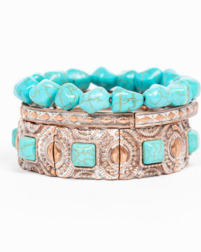 Shyanne Women's Wanderlust Turquoise Stretch Mixed 3 Pack Bracelet Set, Tan/copper, hi-res