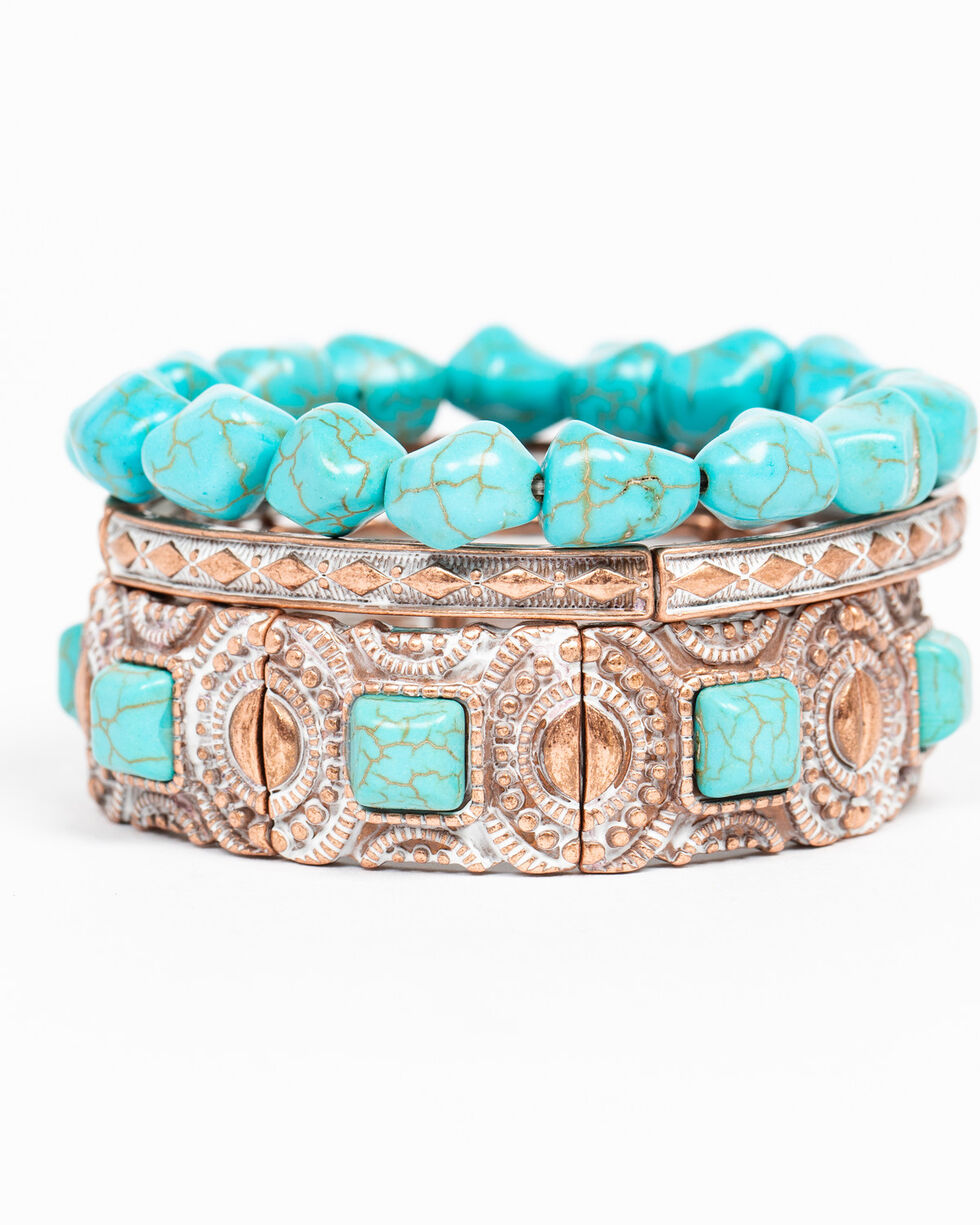 Shyanne Women's Wanderlust Turquoise Stretch Mixed 4 Pack Bracelet Set, Tan/copper, hi-res