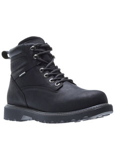 Wolverine Men's Floorhand Waterproof Work Boots - Steel Toe, Black, hi-res