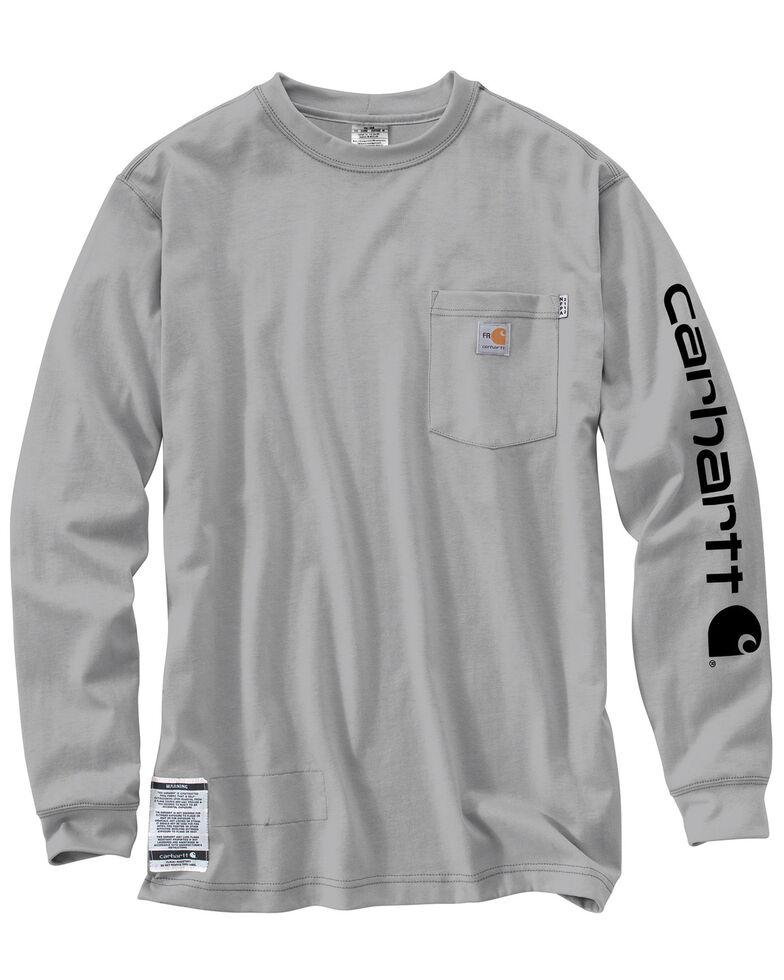 Carhartt Men's Flame Resistant Long Sleeve T-Shirt, Grey, hi-res