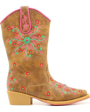 Blazin Roxx Girls' Savvy Embroidered Zipper Cowgirl Boots - Snip Toe, Brown, hi-res