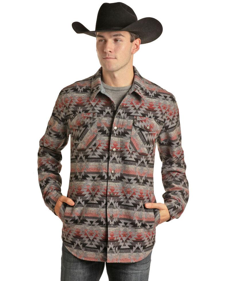 Rock & Roll Denim Men's Coral Aztec Print Shirt Jacket , Coral, hi-res