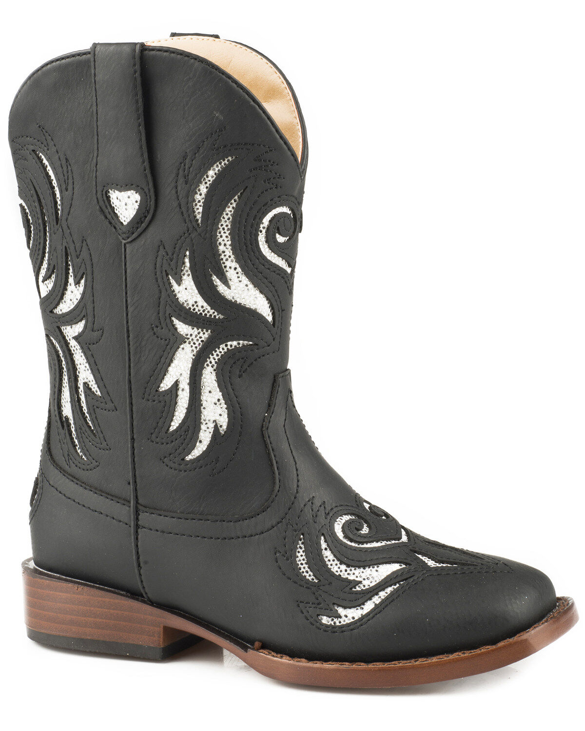 ROPER Girls Flower Sparkles Western Boot Pointed Toe Brown 3 D