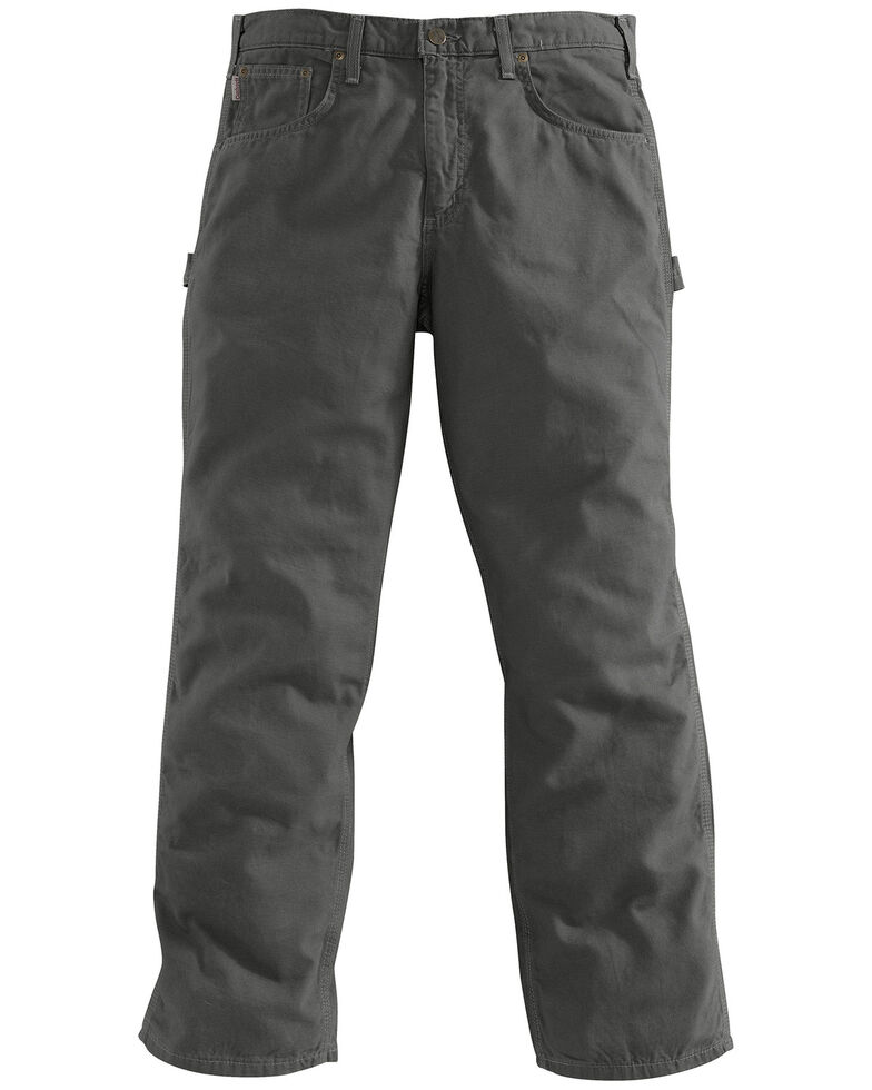 Carhartt Canvas Carpenter Loose Fit Five Pocket Work Pants, Charcoal Grey, hi-res