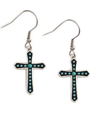 Montana Silversmiths Women's Turquoise Cross Dotted Earrings, Silver, hi-res