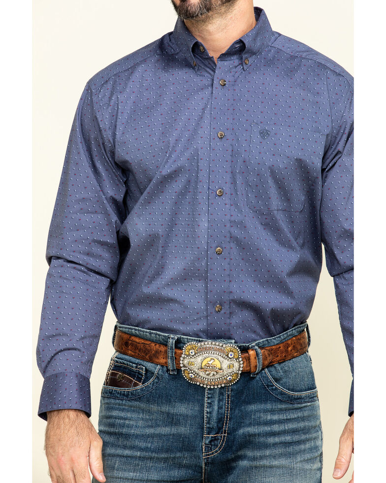 Ariat Men's Newcastle Floral Geo Print Long Sleeve Western Shirt - Big , Blue, hi-res